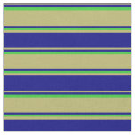 [ Thumbnail: Dark Khaki, Blue, and Lime Green Colored Pattern Fabric ]