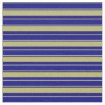 [ Thumbnail: Dark Khaki & Blue Colored Stripes Pattern Fabric ]