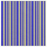 [ Thumbnail: Dark Khaki & Blue Lined/Striped Pattern Fabric ]