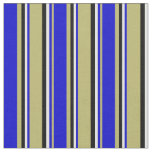 [ Thumbnail: Dark Khaki, Blue, White, and Black Colored Lines Fabric ]