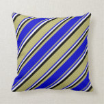 [ Thumbnail: Dark Khaki, Blue, White, and Black Colored Lines Throw Pillow ]