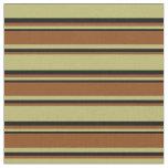 [ Thumbnail: Dark Khaki, Brown & Black Colored Striped Pattern Fabric ]
