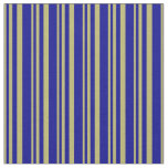 [ Thumbnail: Dark Khaki & Dark Blue Colored Striped Pattern Fabric ]