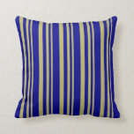 [ Thumbnail: Dark Khaki & Dark Blue Colored Striped Pattern Throw Pillow ]
