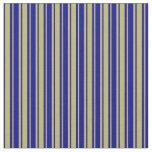 [ Thumbnail: Dark Khaki & Dark Blue Striped Pattern Fabric ]