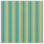 [ Thumbnail: Dark Khaki & Dark Cyan Colored Stripes Fabric ]