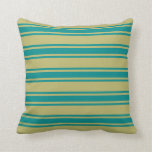[ Thumbnail: Dark Khaki & Dark Cyan Colored Stripes Pillow ]