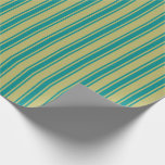 [ Thumbnail: Dark Khaki & Dark Cyan Colored Stripes Wrapping Paper ]