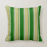 [ Thumbnail: Dark Khaki, Dark Green & Lavender Colored Pattern Throw Pillow ]