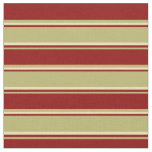 [ Thumbnail: Dark Khaki, Dark Red & Tan Lines Fabric ]