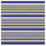 [ Thumbnail: Dark Khaki, Dim Gray, Pale Goldenrod & Blue Lines Fabric ]
