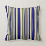[ Thumbnail: Dark Khaki, Dim Gray, Pale Goldenrod & Blue Lines Throw Pillow ]