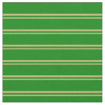 [ Thumbnail: Dark Khaki & Green Colored Stripes/Lines Pattern Fabric ]