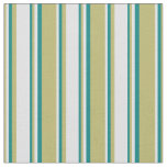 [ Thumbnail: Dark Khaki, Lavender, and Teal Colored Stripes Fabric ]