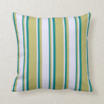 [ Thumbnail: Dark Khaki, Lavender, and Teal Colored Stripes Throw Pillow ]
