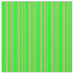 [ Thumbnail: Dark Khaki & Lime Colored Stripes Fabric ]