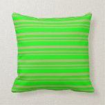 [ Thumbnail: Dark Khaki & Lime Colored Stripes Throw Pillow ]