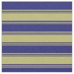 [ Thumbnail: Dark Khaki & Midnight Blue Colored Lined Pattern Fabric ]