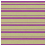 [ Thumbnail: Dark Khaki & Purple Colored Pattern of Stripes Fabric ]