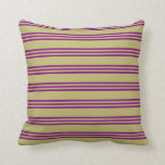 [ Thumbnail: Dark Khaki & Purple Colored Pattern of Stripes Throw Pillow ]
