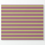 [ Thumbnail: Dark Khaki & Purple Colored Pattern of Stripes Wrapping Paper ]