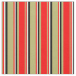 [ Thumbnail: Dark Khaki, Red, Beige & Black Colored Pattern Fabric ]