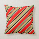 [ Thumbnail: Dark Khaki, Red, Beige & Black Colored Pattern Throw Pillow ]