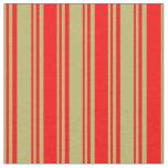 [ Thumbnail: Dark Khaki & Red Colored Striped Pattern Fabric ]