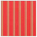 [ Thumbnail: Dark Khaki & Red Lined/Striped Pattern Fabric ]