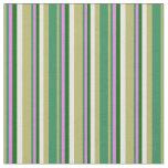 [ Thumbnail: Dark Khaki, Sea Green, Violet, Dark Green & White Fabric ]