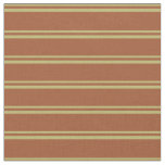 [ Thumbnail: Dark Khaki & Sienna Lined/Striped Pattern Fabric ]