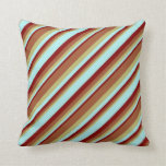 [ Thumbnail: Dark Khaki, Sienna, Maroon, and Turquoise Colored Throw Pillow ]
