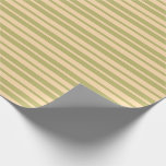 [ Thumbnail: Dark Khaki & Tan Colored Striped/Lined Pattern Wrapping Paper ]