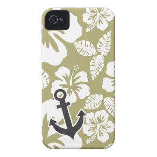 Dark Khaki Tropical Hibiscus; Anchor iPhone 4 Cover