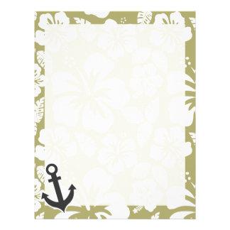 Dark Khaki Tropical Hibiscus; Anchor Letterhead Template