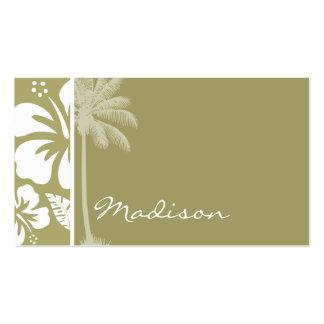 Dark Khaki Tropical Hibiscus; Palm Business Card Templates