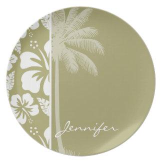 Dark Khaki Tropical Hibiscus; Palm Dinner Plate