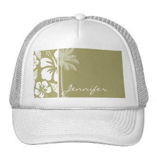 Dark Khaki Tropical Hibiscus; Palm Hats