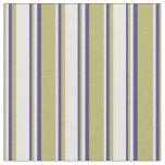 [ Thumbnail: Dark Khaki, White & Dark Slate Blue Pattern Fabric ]