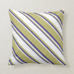 [ Thumbnail: Dark Khaki, White & Dark Slate Blue Pattern Pillow ]