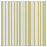[ Thumbnail: Dark Khaki & White Lines Pattern Fabric ]