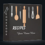 """Dark Kitchen utensils recipe binder book<br><div class=""""desc"""">Dark Kitchen utensils recipe binder book - Custom Binder Template. I like to cook by my own and I want to collect all my ways into a magic cookbook. This design let you create your magic book with your exclusive name on it. Cute personalized baking / cooking gift idea for...</div>"""