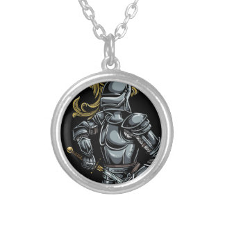 Dark Knight Armour Round Pendant Necklace