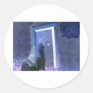 dark knockings long exposure ghost photography classic round sticker