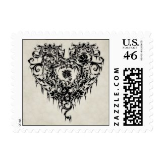 Dark Lacy Heart Postage Stamps stamp