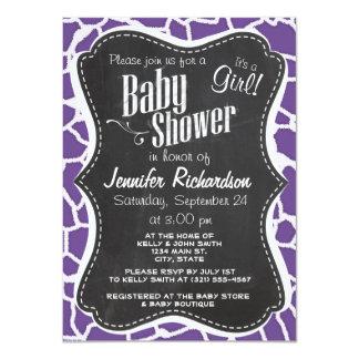 Dark Lavender Giraffe Print; Retro Chalkboard Personalized Invitation