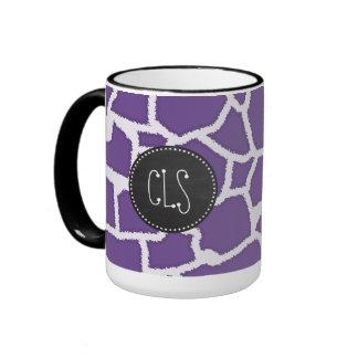 Dark Lavender Giraffe Print Retro Chalkboard Coffee Mug