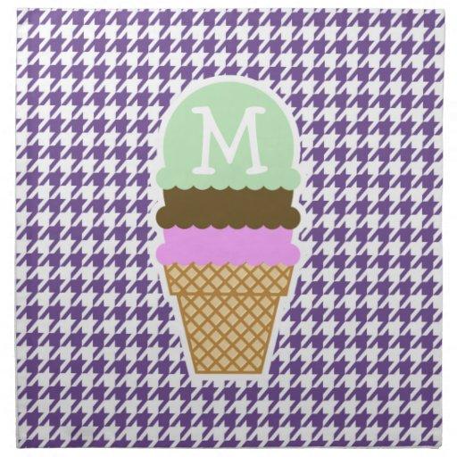 Dark Lavender, Purple Houndstooth; Ice Cream Napkin | Zazzle