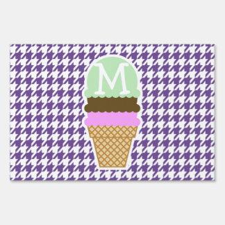Dark Lavender, Purple Houndstooth; Ice Cream Sign