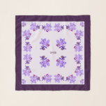"""Dark Lavender Purple Orchids Square Chiffon Scarf<br><div class=""""desc"""">Dark Lavender Purple Orchids on White Lilac Background with Dark Purple Border Square Chiffon Scarf.  Matching fold-over clutch in the store Matching_Totes.</div>"""